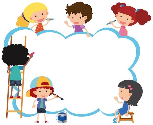 Modèle de frontière avec des enfants heureux peinture