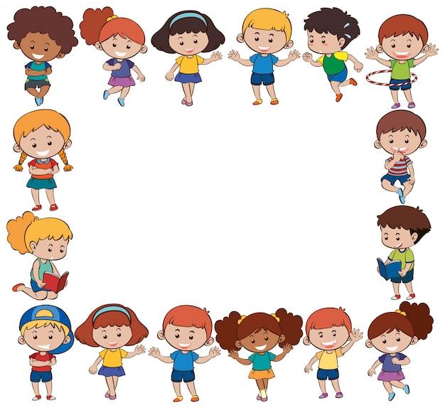 Modèle de frontière avec des enfants heureux