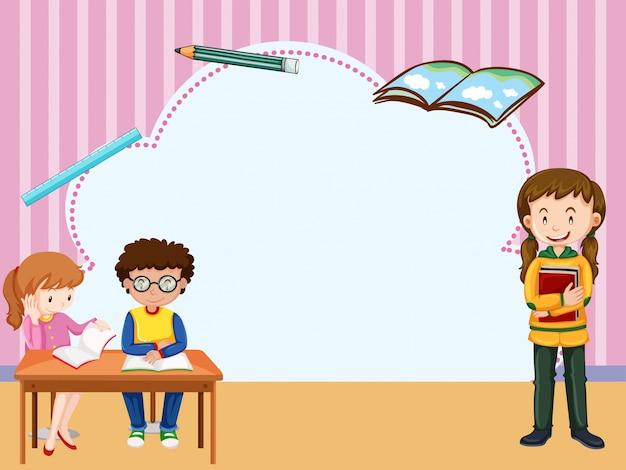 Modèle de frontière avec les enfants qui apprennent en salle de classe