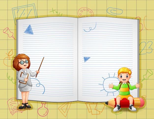 Le modèle de frontière avec l'enseignant enseigne à ses élèves
