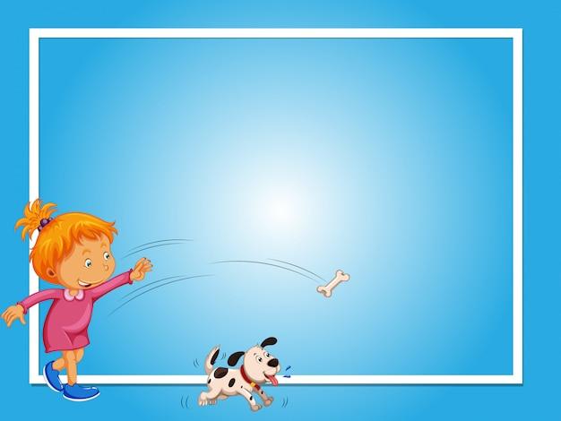 Modèle de frontière avec la fille et le chien