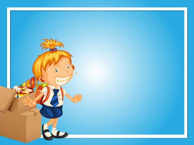 Modèle de frontière avec une fille en uniforme scolaire