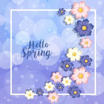 Modèle de frontière avec des fleurs bleues et roses