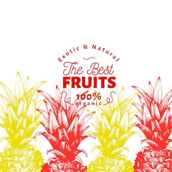 Modèle de fruits d'ananas. illustration de fruits dessinés à la main. fond tropical vintage de style gravé.