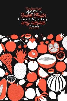 Modèle de fruits dessinés à la main scandinave.