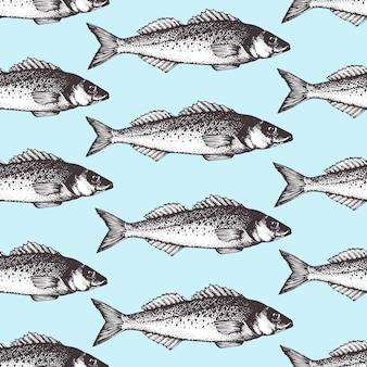 Modèle de fruits de mer croquis dessinés à la main avec du poisson. illustration de bar rétro.