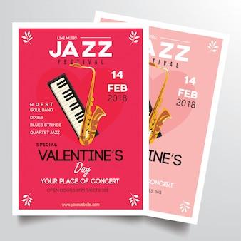 Modèle fyer de festival de jazz de la saint-valentin