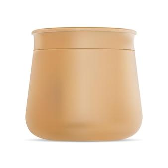 Modèle de gel de corps de maquette de récipient de vecteur de pot de crème cosmétique emballage rond d'or réaliste