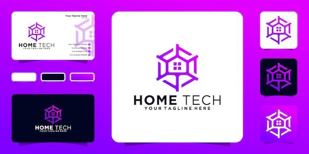 Modèle de géométrie de technologie de logo à la maison et conception de carte de visite
