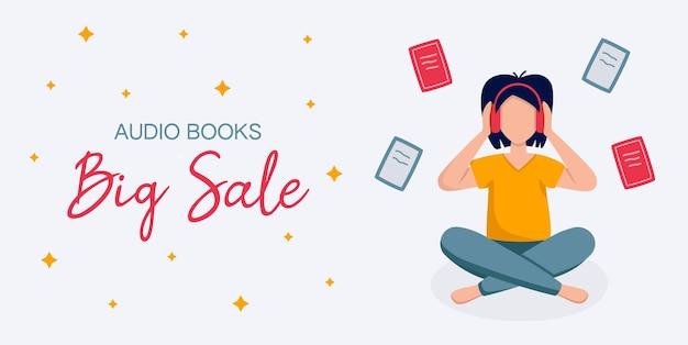 Modèle de grande vente avec une fille au casque assise et écoutant des livres audio livres volant autour