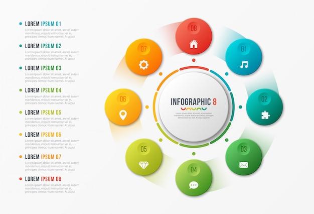 Modèle de graphique de cercle rotatif, conception infographique