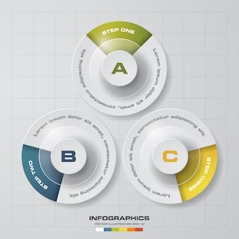 Modèle de graphique infografics 3 étapes.