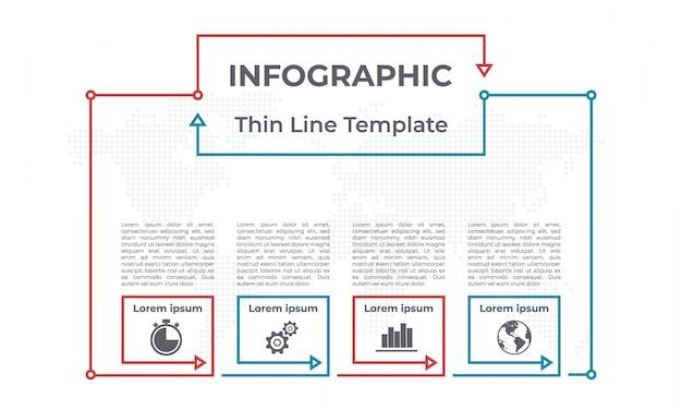 Modèle de graphique infographique 4 options.