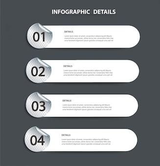 Modèle graphique d'informations de plaque métallique avec 4 options
