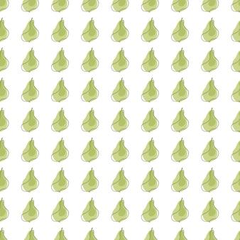 Modèle de griffonnage sans couture de silhouettes de poire de petit fruit isolé