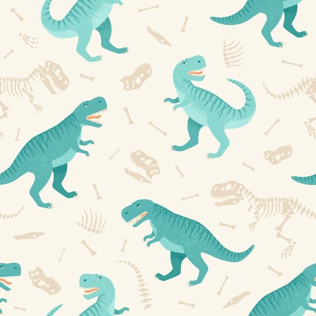 Modèle grunge sans couture de squelette de dinosaure.