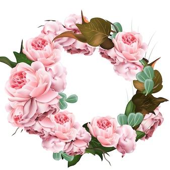 Modèle de guirlande de fleurs roses vector. illustration de décor 3d réaliste