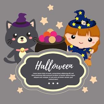 Modèle halloween avec adorable chat et sorcière