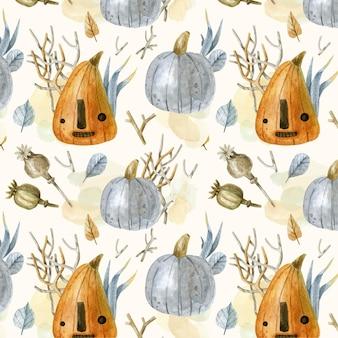 Modèle halloween aquarelle avec des citrouilles