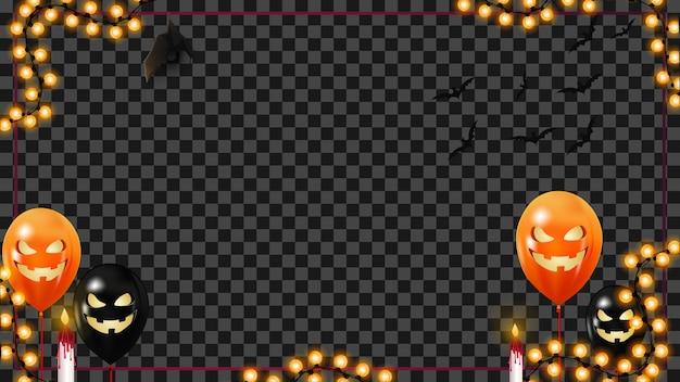 Modèle d'halloween avec des ballons de guirlande et d'halloween