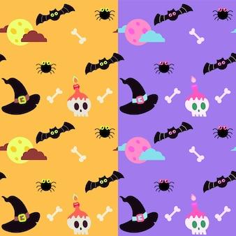 Modèle d'halloween avec chauves-souris et crâne