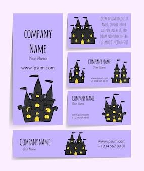 Modèle d'halloween pour votre carte de visite. style de bande dessinée.