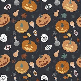 Modèle d'halloween sans couture avec des citrouilles