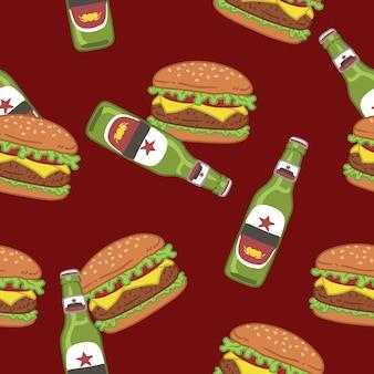Modèle de hamburger et de bière