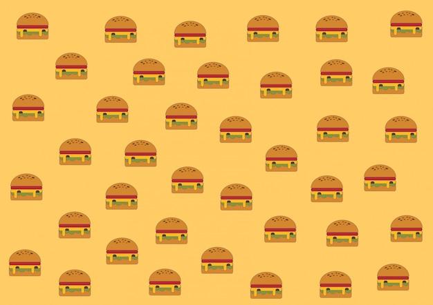Modèle de hamburger sur fond jaune.