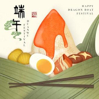 Modèle happy dragon boat festival avec une cuisine traditionnelle. traduction chinoise: duanwu et bénédiction.