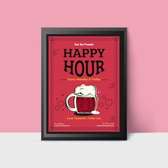 Modèle de happy hour avec des tasses de bière pour le web, affiche, flyer, invitation à faire la fête en couleurs roses. style vintage.