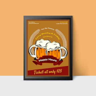 Modèle de happy hour avec des tasses de bière pour le web, affiche, flyer, invitation à faire la fête dans les couleurs jaunes. style vintage.