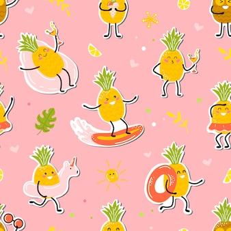 Modèle De L'heure D'été Avec Joyeux Ananas Vecteur Premium