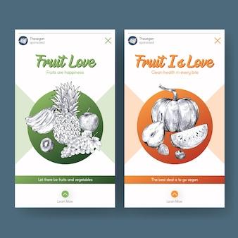 Modèle d'histoire instagram avec conception de concept de nourriture végétalienne