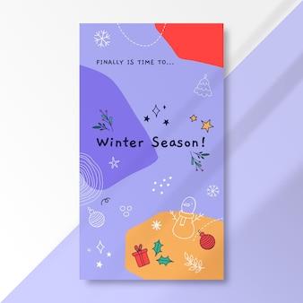 Modèle d'histoire instagram de dessin d'hiver coloré doodle
