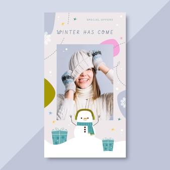 Modèle d'histoire instagram d'hiver avec photo