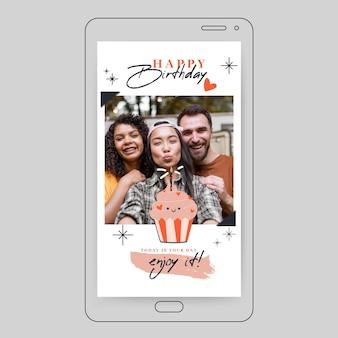 Modèle d'histoire instagram joyeux anniversaire avec photo