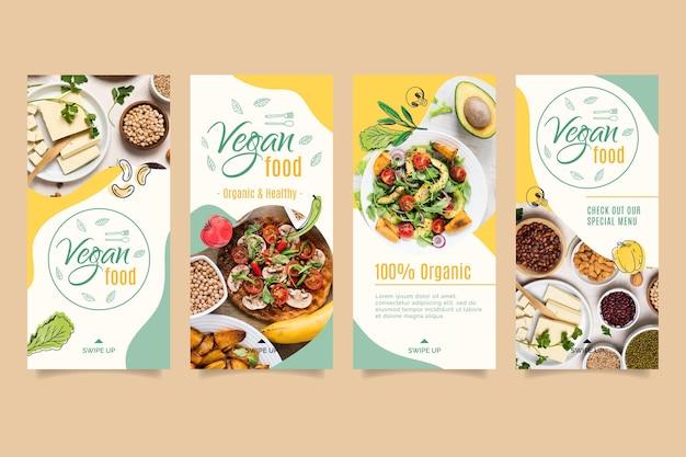 Modèle d'histoire instagram de nourriture végétalienne