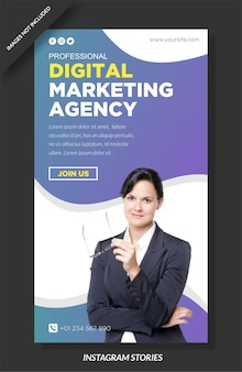 Modèle d'histoire et de médias sociaux de l'agence de marketing numérique
