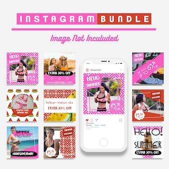 Modèle d'histoire de mode instagram d'été