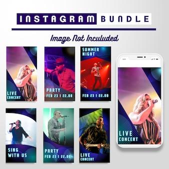 Modèle d'histoire de musique néon instagram