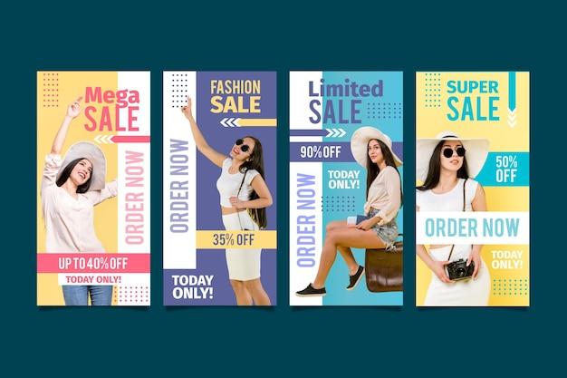 Modèle d'histoires colorées de vente instagram
