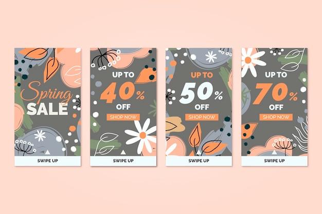 Modèle d'histoires florales instagram