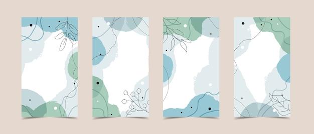 Modèle d'histoires avec fond moderne abstrait avec des formes organiques fluides, des couleurs pastel