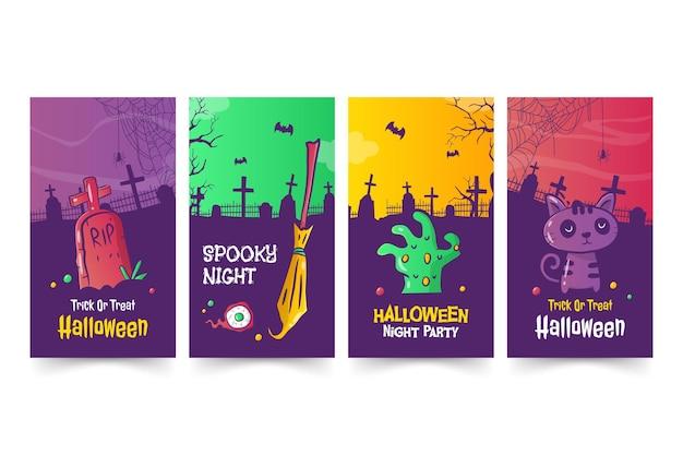 Modèle d'histoires d'halloween dessinés à la main
