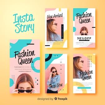 Modèle d'histoires instagram abstraites