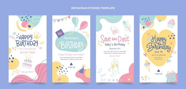 Modèle d'histoires instagram d'anniversaire dessinés à la main