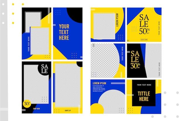 Modèle d'histoires instagram aux couleurs vives