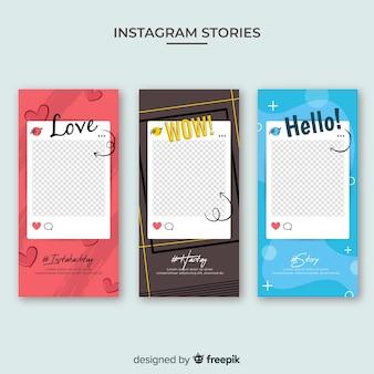 Modèle d'histoires instagram avec cadre vide