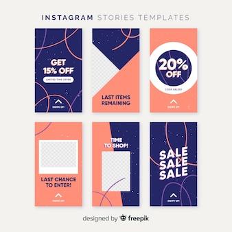 Modèle d'histoires instagram colorées